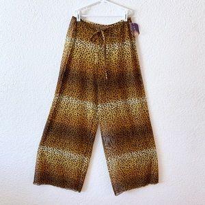 90s Sheer Leopard Print Mesh Pool Pants Cover Up S